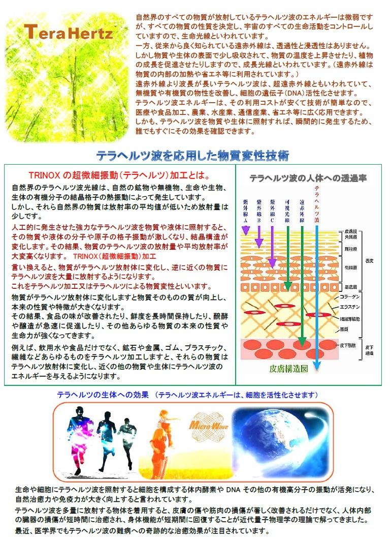 テラヘルツ波を応用した物質変性技術 (TRINOXの超微細振動(テラヘルツ)加工とは】